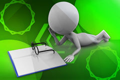 3d man book reading illustration Stock Images