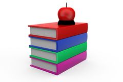 3d man books and apple concept Royalty Free Stock Image