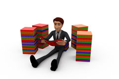 3d man with books concept Stock Photo