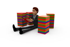 3d man with books concept Royalty Free Stock Images