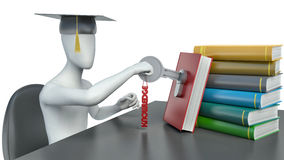 3d man and books with knowledge Royalty Free Stock Photo