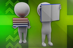 3d man books and opening books Stock Photo