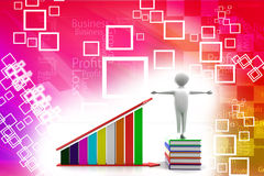 3d man books and profit graph Illustration Stock Photo