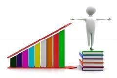 3d man books and profit graph Stock Photos