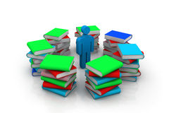 3d Man and books Stock Image