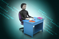 3d man  with books at table study Royalty Free Stock Photo