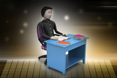 3d man  with books at table study Royalty Free Stock Images