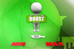 3d man boost illustration Royalty Free Stock Images