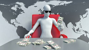 3d man boss and money Stock Photos
