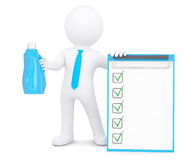 3d man with bottle and checklists. 3d man with bottle of household chemicals and checklists. Isolated render on a white background Stock Photo