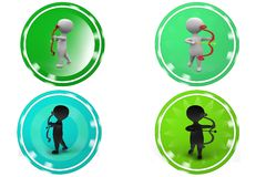 3D Man with bow and arrow concept icon Stock Image
