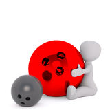 3D man and bowling balls Stock Images