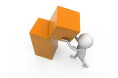 3d man box building concept Stock Image