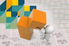 3d man box building illustration Stock Photo