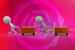 3d man box cart illustration Stock Image