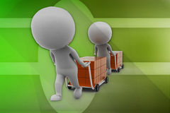 3d man box cart illustration Royalty Free Stock Photo