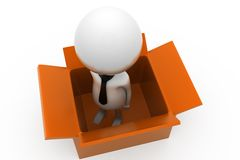 3d man in box concept Royalty Free Stock Images