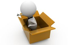 3d man in box concept Stock Images
