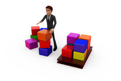 3d man boxes concept Stock Photo
