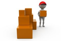 3d man boxes delivery concept Royalty Free Stock Images