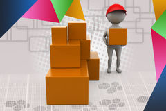 3d man boxes delivery illustration Stock Images