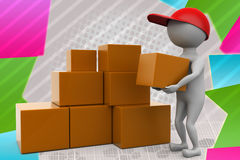3d man boxes delivery illustration Stock Photo
