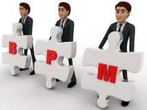3d man with BPM written on puzzle pieces concept Stock Images