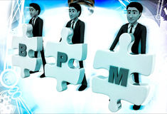 3d man with BPM written on puzzle pieces illustration Stock Photo