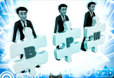 3d man with BPM written on puzzle pieces illustration Royalty Free Stock Photography