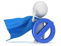 3d man - brave superhero with forbidden sign Royalty Free Stock Photo
