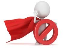 3d man - brave superhero with forbidden sign Royalty Free Stock Photos