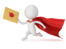 3d man brave superhero and mail envelope Royalty Free Stock Images