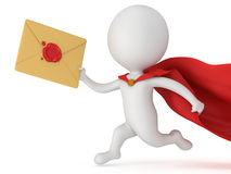 3d man brave superhero and mail envelope Royalty Free Stock Photos