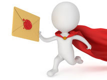 3d man brave superhero and mail envelope Stock Photo