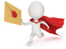 3d man brave superhero and mail envelope Stock Image
