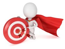 3d man brave superhero with red target. 3d man brave superhero with red cloak stand near red aim target with three arrows. Render  on white. Goal, luck Stock Photography
