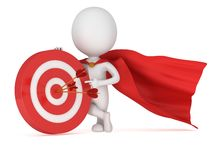 3d man brave superhero with red target. 3d man brave superhero with red cloak stand near red aim target with three arrows. Render  on white. Goal, luck Stock Photos