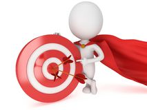 3d man brave superhero with red target. 3d man brave superhero with red cloak stand near red aim target with three arrows. Render  on white. Goal, luck Royalty Free Stock Image