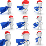 3d man - brave superhero with santa claus hat. Set. 3d man - brave superhero with blue cloak and red santa claus hat show thumbs up. Isolated collection on Royalty Free Stock Photo