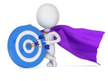 3d man - brave superhero with target and arrows. 3d man - brave superhero with target and three arrows purple cloak.  on white 3d render. Competition, goal, win Royalty Free Stock Photo