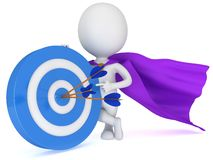 3d man - brave superhero with target and arrows. 3d man - brave superhero with target and three arrows purple cloak.  on white 3d render. Competition, goal, win Royalty Free Stock Image