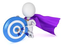 3d man - brave superhero with target and arrows. 3d man - brave superhero with target and three arrows purple cloak.  on white 3d render. Competition, goal, win Royalty Free Stock Images
