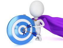 3d man - brave superhero with target and arrows. 3d man - brave superhero with target and three arrows purple cloak.  on white 3d render. Competition, goal, win Stock Photo