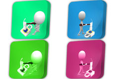 3d Man break mail security concept icon Royalty Free Stock Photos