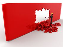 3d man break wall using hammer and make own way concept Royalty Free Stock Photo