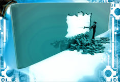 3d man break wall using hammer and make own way illustration Stock Photos