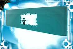 3d man break wall using hammer and make own way illustration Stock Photography