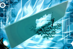 3d man break wall using hammer and make own way illustration Royalty Free Stock Images