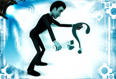 3d man breaking green question mark with steel axe illustration Royalty Free Stock Photo