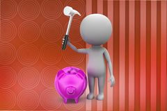 3d Man breaking Pink piggy bank illustration Royalty Free Stock Photos